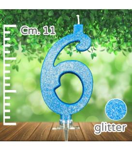 Candelina Numero 6 Azzurra Glitterata