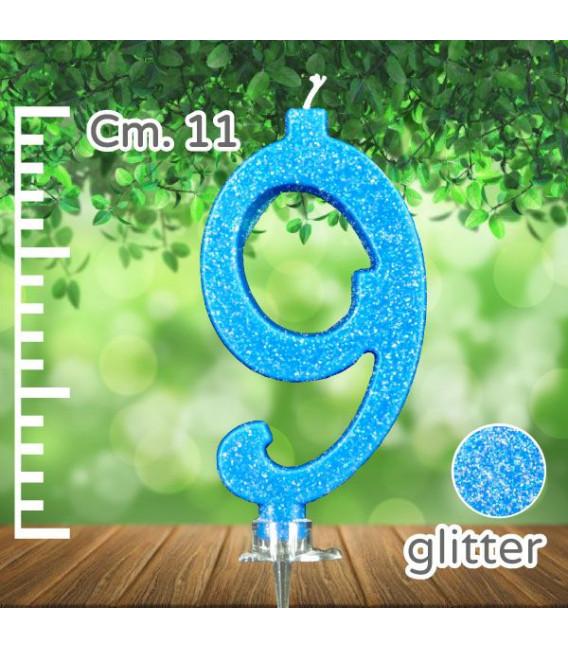 Candelina Numero 9 Azzurra Glitterata