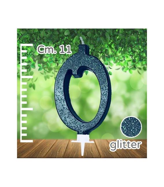 Candelina Numero 0 Nera Glitterata