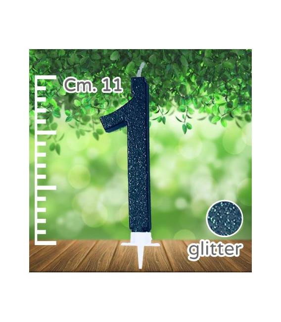 Candelina Numero 1 Nera Glitterata