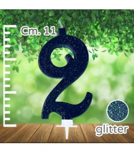 Candelina Numero 2 Nera Glitterata
