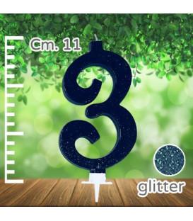 Candelina Numero 3 Nera Glitterata
