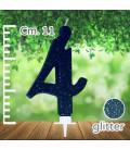 Candelina Numero 4 Nera Glitterata