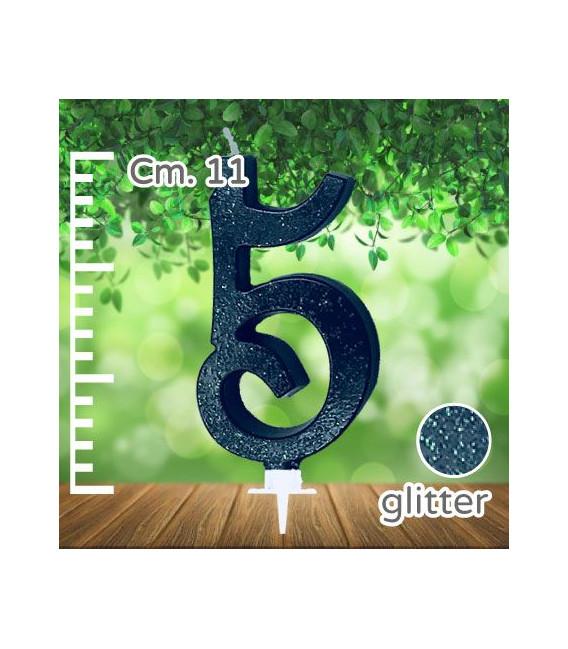 Candelina Numero 5 Nera Glitterata