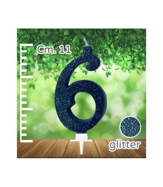 Candelina Numero 6 Nera Glitterata