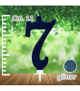 Candelina Numero 7 Nera Glitterata