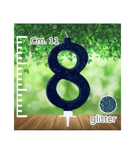 Candelina Numero 8 Nera Glitterata
