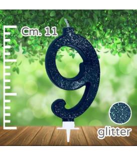 Candelina Numero 9 Nera Glitterata