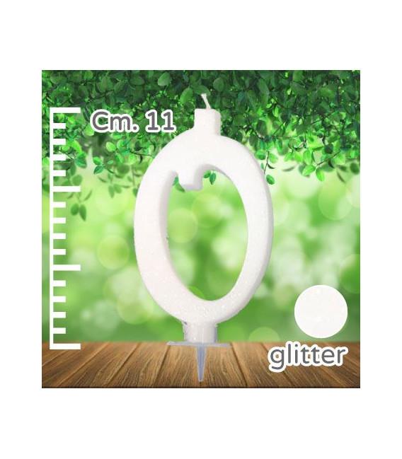 Candelina Numero 0 Bianca Glitterata