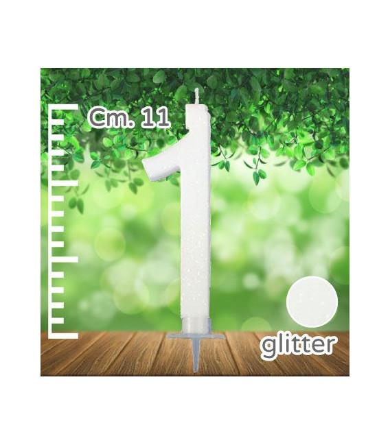Candelina Numero 1 Bianca Glitterata