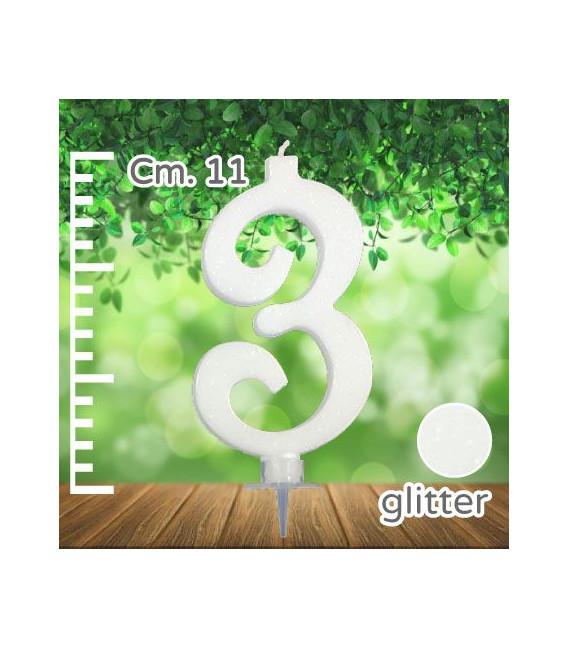 Candelina Numero 3 Bianca Glitterata