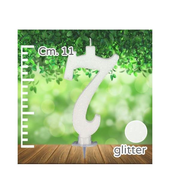 Candelina Numero 7 Bianca Glitterata