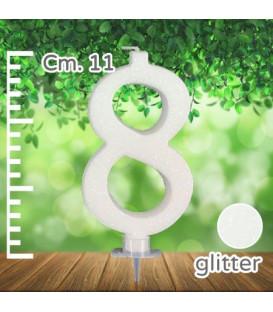 Candelina Numero 8 Bianca Glitterata