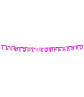 Festone con Lettere Sagomate IL MIO PRIMO COMPLEANNO rosa 335 cm