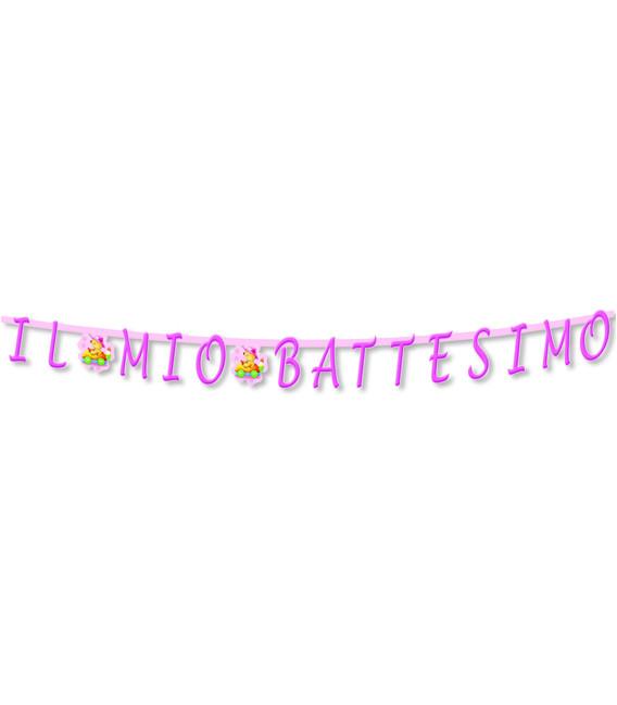 Festone con Lettere Sagomate IL MIO BATTESIMO rosa 281 cm
