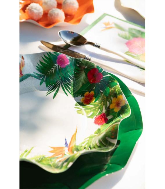 Piatti Fondi di Carta a Petalo Tropical 24 cm