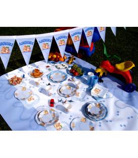Festone con Bandierine AUGURI celeste 15 Bandierine 600 cm