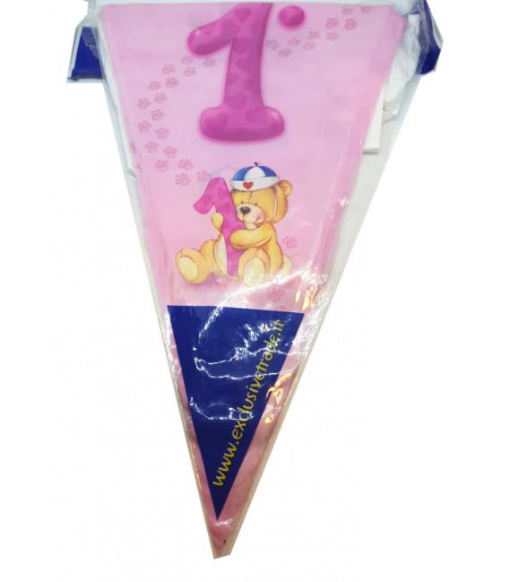 Festone con Bandierine 1° rosa 15 Bandierine 600 cm