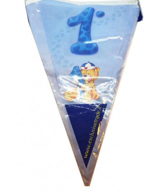 Festone con Bandierine PRIMO COMPLEANNO BLU 15 Bandierine 600 cm