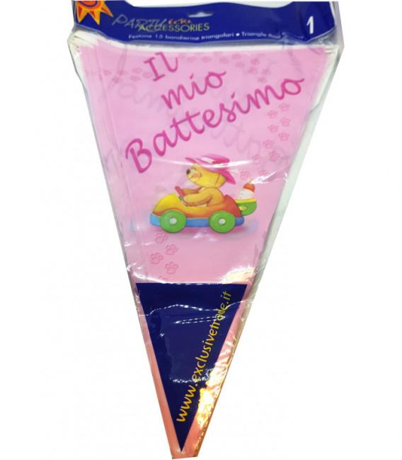 Festone con Bandierine IL MIO BATTESIMO rosa 15 Bandierine 600 cm