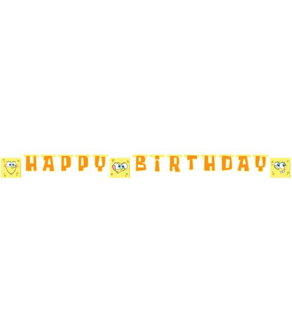 Festone Lettere Buon Compleanno SpongeBob Surfing