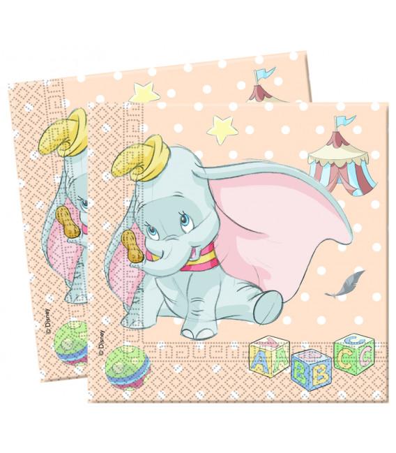 Tovaglioli 33 x 33 cm 2 Veli Dumbo Baby Disney
