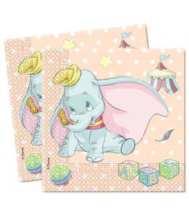 Tovaglioli 33 x 33 cm 2 Veli Dumbo Baby Disney 1 confezione