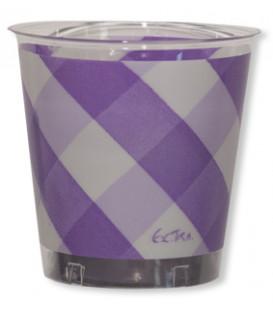 Bicchieri di Plastica Vichy a Quadri Bianco Lilla 300 cc