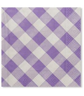 Tovaglioli Vichy a Quadri Bianco Lilla 33 x 33 cm 3 confezioni