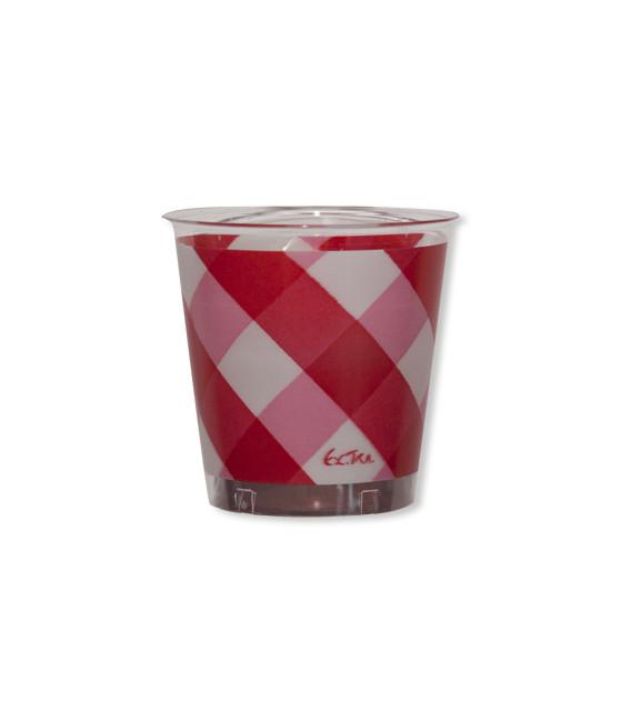 Bicchieri di Plastica 300 cc Vichy a Quadri Bianco Rosso 3 Confezioni