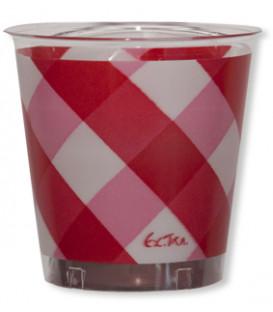 Bicchieri di Plastica Vichy a Quadri Bianco Rosso 300 cc
