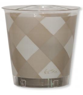Bicchieri di Plastica Vichy a Quadri Bianco Taupe 300 cc