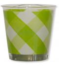 Bicchieri di Plastica Vichy a Quadri Bianco Verde Lime 300 cc