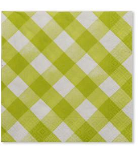 Tovaglioli 3 Veli Vichy a Quadri Bianco Verde Lime
