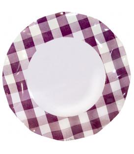 Piatti Piani di Carta Vichy a Quadri Bianco Prugna 27 cm 2 confezioni