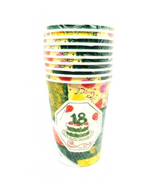 Bicchieri di Carta Diciottesimo Compleanno 250 cc