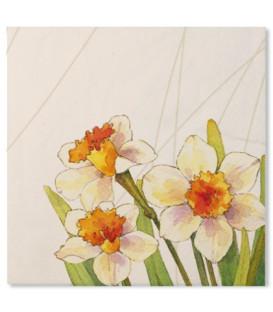 Tovaglioli 3 Veli Floreali Narcisi 33x33 cm 3 confezioni