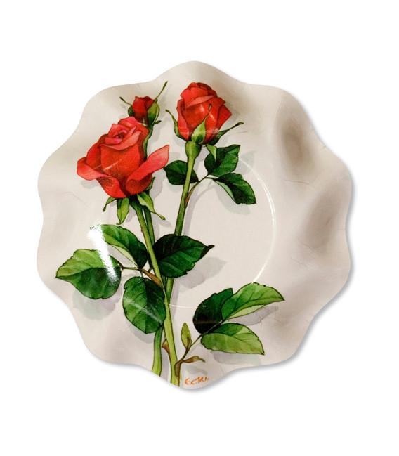 Piatti Fondi di Carta a Petalo Rose Rosse 18,5 cm