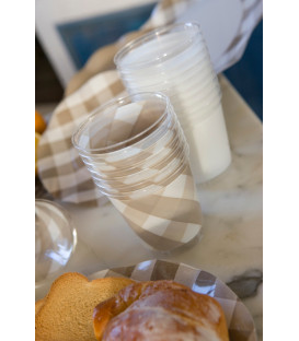 Bicchieri di Plastica Vichy a Quadri Bianco Tortora 300 cc 3 confezioni