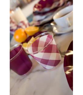 Bicchieri di Plastica Vichy a Quadri Bianco Prugna 300 cc 3 confezioni