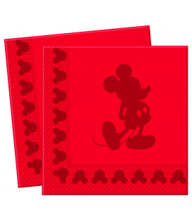 Tovaglioli 33 x 33 cm 3 Veli Mickey Mouse in Rosso Disney 3 Pz