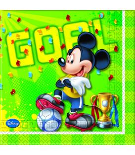 Tovaglioli 33 x 33 cm 2 Veli Mickey Mouse Goal Team Disney 3 Pz