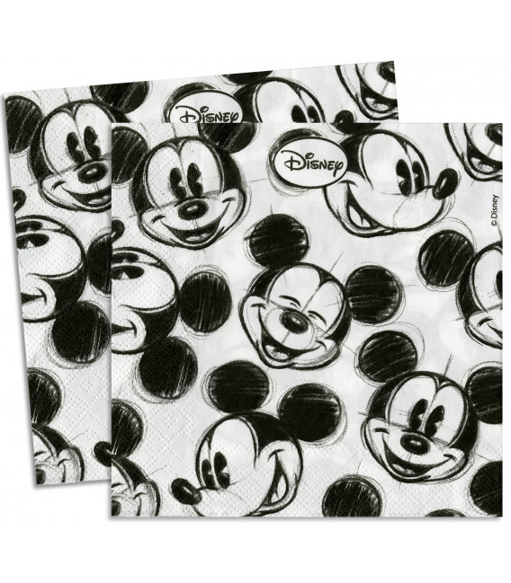 Tovaglioli 33 x 33 cm 3 Veli Mickey Mouse in Black Disney 3 Pz