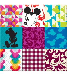 Tovaglioli 33 x 33 cm 3 Veli Mickey Mouse Patchwork Disney 3 Pz