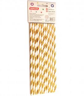 Cannuccia di carta a strisce dorate