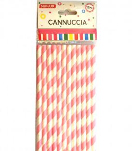 Cannuccia di carta a strisce rosa