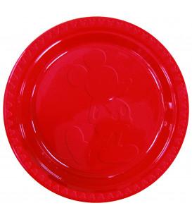 Piatto Piano Grande di Plastica 23 cm Mickey Mouse in Rosso Disney