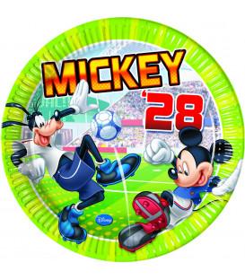 Piatto Piano Grande di Carta 23 cm Mickey Mouse Goal Team Disney