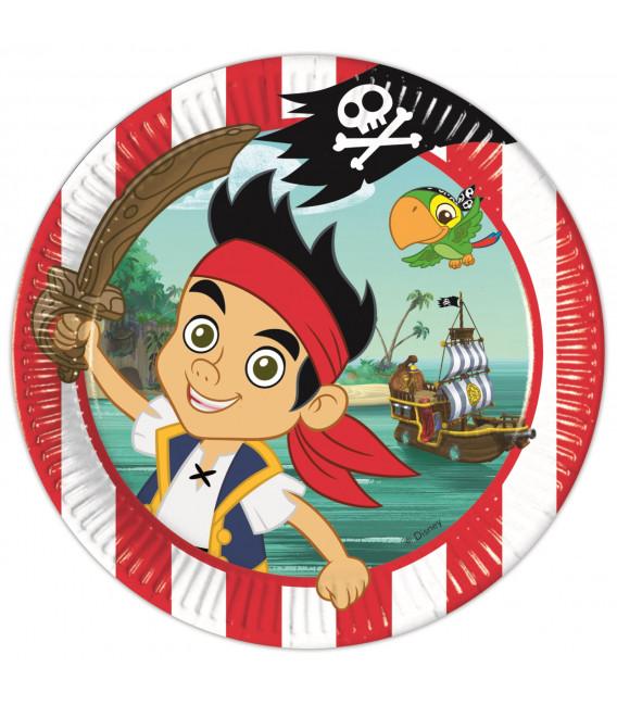 Piatto Piano Grande di Carta 23 cm Pirata Jake Buon Compleanno Disney