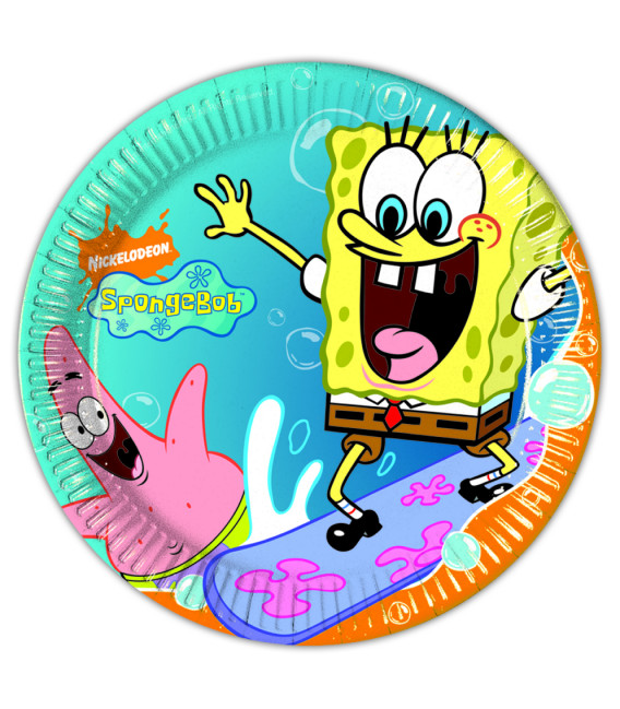 Piatto Piano Grande di Carta 23 cm SpongeBob Surfing
